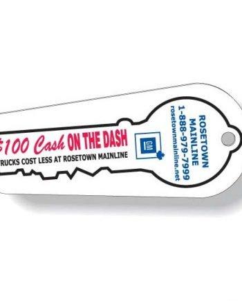 Porte-clés en plastique blanc Quadrichromie à l'avant / noir à l'endos | Jobox Media