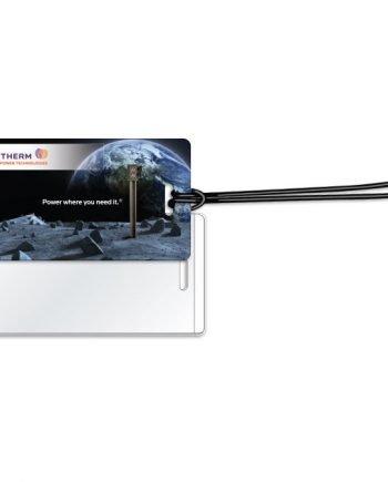 Étiquettes à bagages en vinyle blanc luisant .020 / avec fenêtre sécuritaire™ .010 scellée à l'endos Quadrichromie | Jobox Media